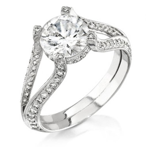 Semi Mount Split Shank Pave Diamond Engagement Ring with 0.90 carat of Round Cut Diamonds