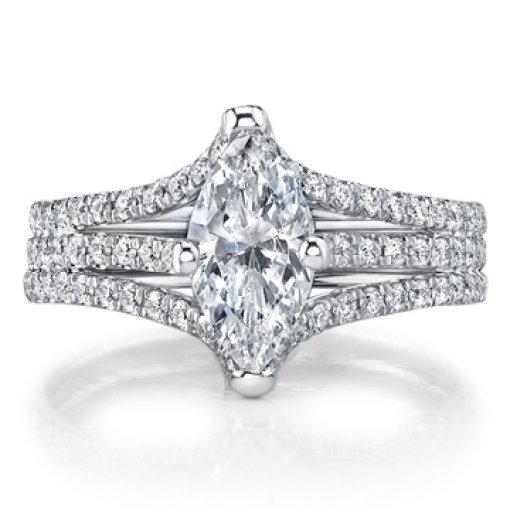Semi Mount Split Shank Pave Diamond Engagement Ring with 1.20 carat of Round Cut Diamonds