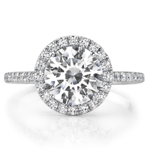 Semi Mount Halo Pave Diamond Engagement Ring with 1.00 carat Round Cut Diamonds
