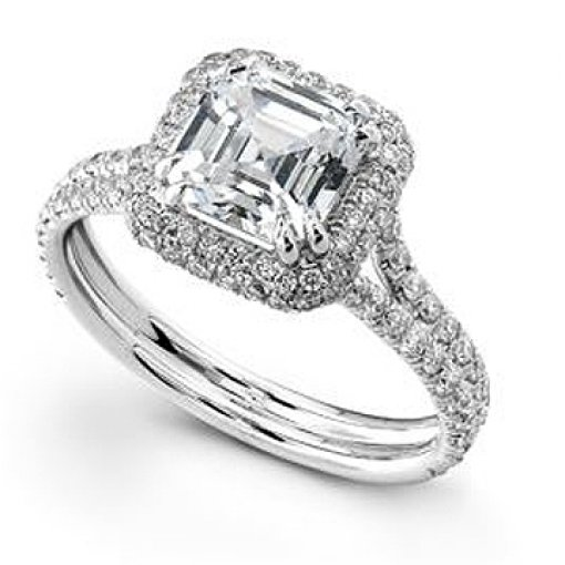 Semi Mount Split Shank Halo Pave Engagement Ring with 1.10 carat of Round Cut Diamonds