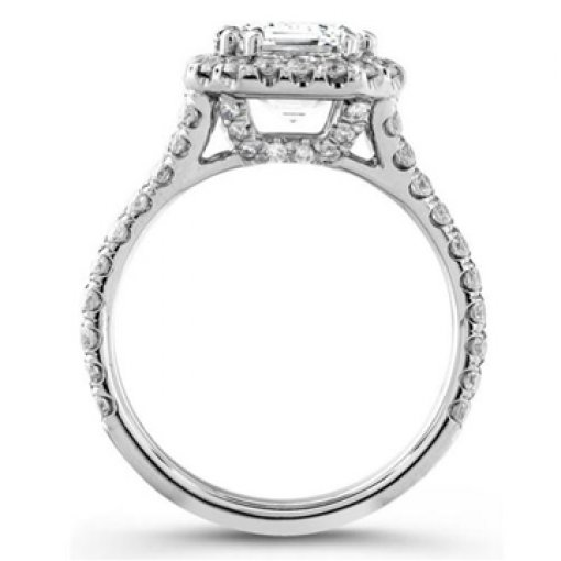 Semi Mount Split Shank Halo Pave Diamond Engagement Ring with 1.30 carat Round Cut Diamonds