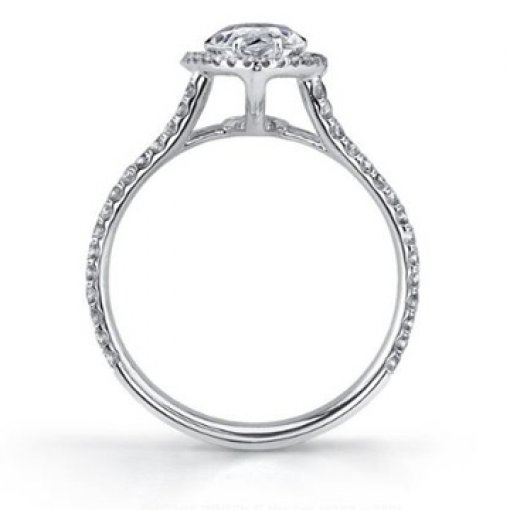 Semi Mount Split Shank Halo Pave Engagement Ring with 1.15 carat of Round Cut Diamonds
