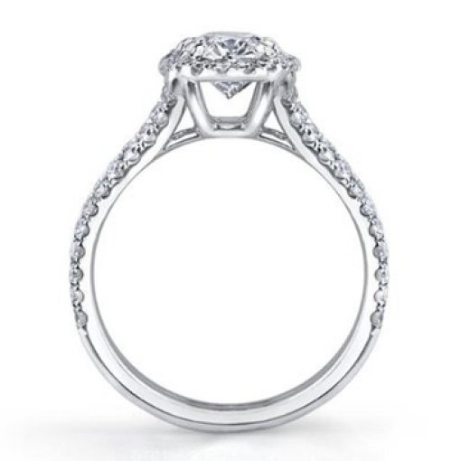 Semi Mount Split Shank Halo French Pave Engagement Ring with 1.20 carat Round Cut Diamonds