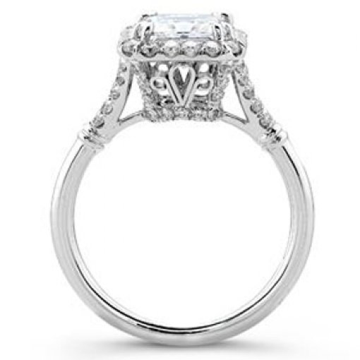 Semi Mount Halo Pave Engagement Diamond Ring with 0.90 carat Round Cut Diamonds