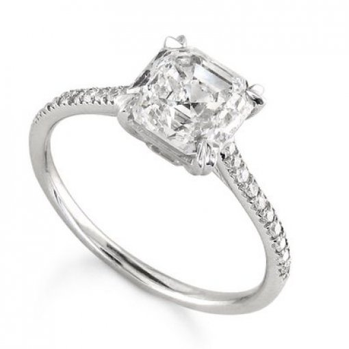Semi Mount Pave Diamond Engagement Ring with 0.75 carat Round Cut Diamonds