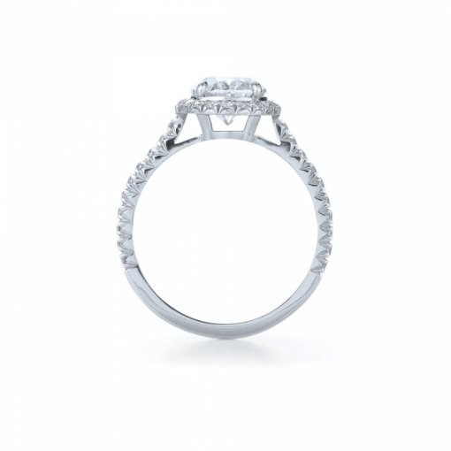 Semi Mount Halo Pave Diamond Engagement Ring with 1.00 total carat weight of Round Cut Diamonds