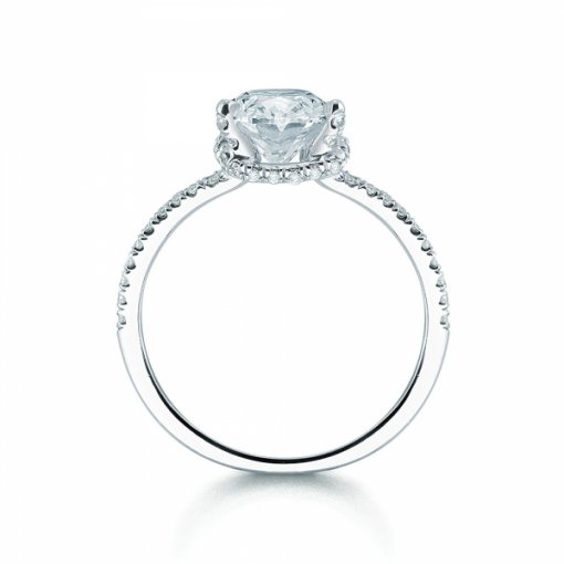 Semi Mount Split Shank Pave Diamond Engagement Ring with 0.75 carat of Round Cut Diamonds