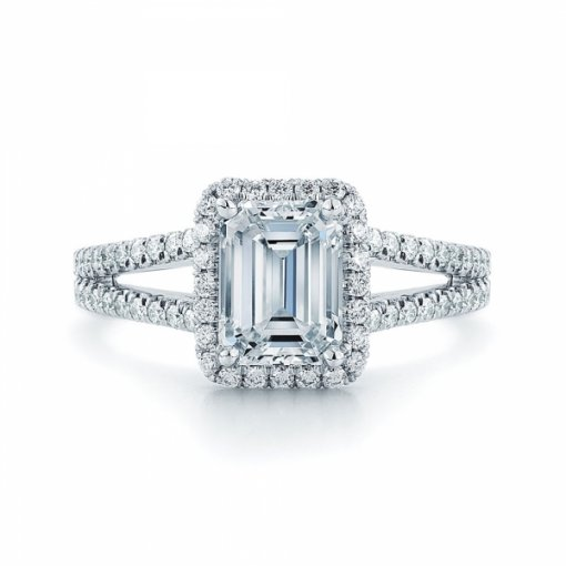 Semi Mount Split Shank Pave Diamond Engagement Ring with 1.00 carat total weight of Round Cut Diamonds