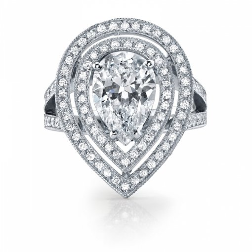 Semi Mount Split Shank Double Halo Pave Diamond Engagement Ring with 1.30 carat total weight of Round Cut Diamonds