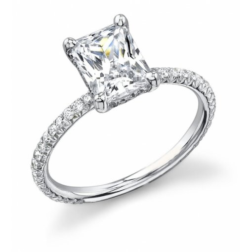 Semi Mount Pave Diamond Engagement Ring with 0.65 carat total weight of Round Cut Diamonds
