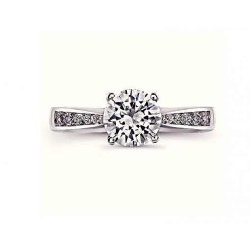 Semi Mount Classic Diamond Accented Engagement Ring with 0.50 carat total weight of Round Cut Diamonds