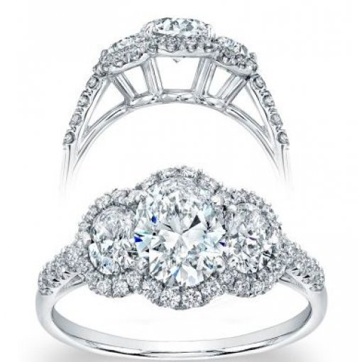 Semi Mount Three Stone Halo Pave Diamond Engagement Ring with 1.25 carat total weight of Round Cut Diamonds