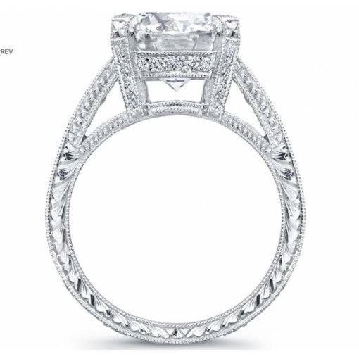 Semi Mount Pave Diamond Engagement Ring with 0.60 carat total weight of Round Cut Diamonds