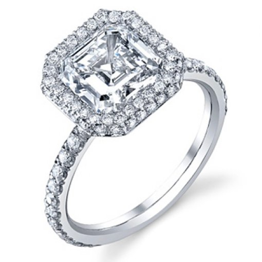 Semi Mount Halo Pave Diamond Engagement Ring wtih 1.10 carat total weight of Round Cut Diamonds