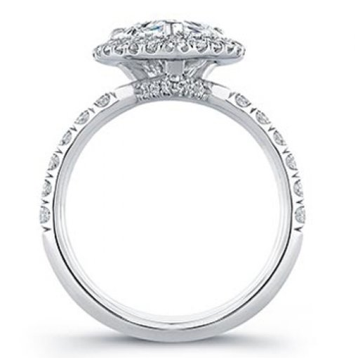 Semi Mount Halo Pave Diamond Engagement Ring with 1.10 carat total weigh tof Round Cut Diamonds