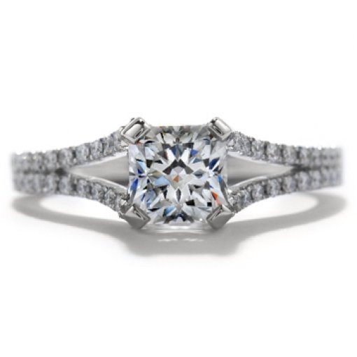 Semi Mount Split Shank Pave Diamond Engagement Ring with 0.80 carat total weight of Round Cut Diamonds
