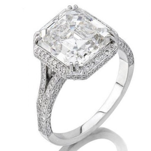 Semi Mount Split Shank Halo Pave Diamond Engagement Ring with 1.20 carat total weight Round Cut Diamonds