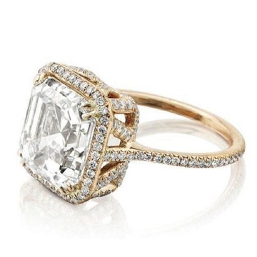 Semi Mount Halo Pave Diamond Engagement Ring with 1.00 carat total weight of Round Cut Diamonds