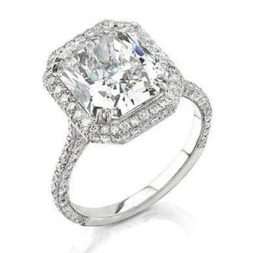 Semi Mount Halo Pave Diamond Engagement Ring with 1.50 carat total weight of Round Cut Diamonds