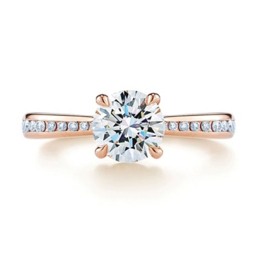 Semi Mount Diamond Accented Four Prong Engagement Ring with 0.40 carat total weight of Round Cut Diamond Rings