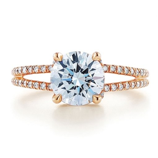 Semi Mount Split Shank Pave Diamond Engagement Ring with 0.75 carat total weight of Round Cut Diamonds