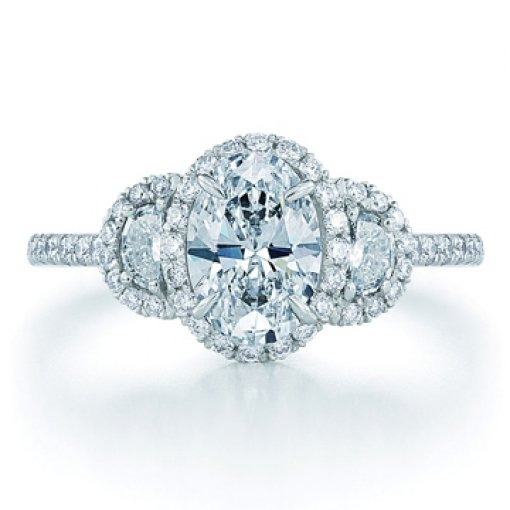 Semit Mount Three Stone Halo Pave Diamond Engagement Ring with 1.40 carat total weight of Round Cut Diamonds