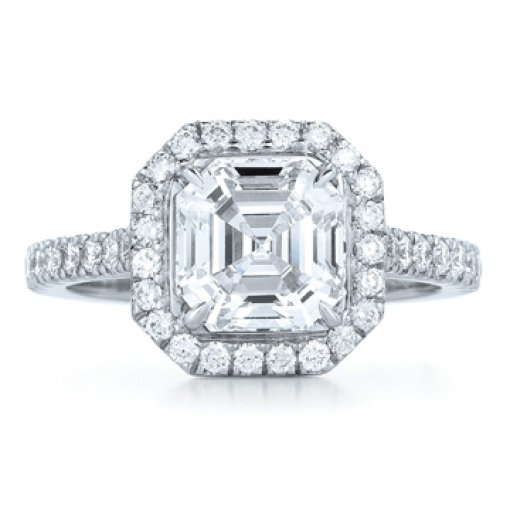 Semi Mount Halo Pave Diamond Engagement Ring with 0.80 carat total weight of Round Cut Diamonds