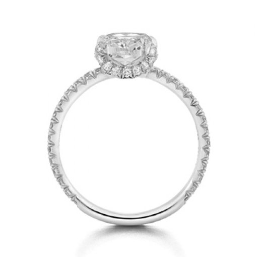 Semi Mount Four Prong Pave Diamond Engagement Ring with 0.80 carat total weight of Round Cut Diamonds