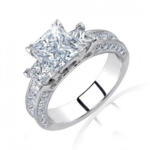 Semi Mount Three Stone Pave Diamond Engagement Ring with 1.80 carat total weight of Round Cut Diamonds