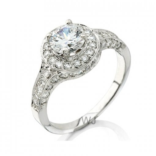Semi Mount Halo Pave Diamond Engagement Ring with 0.70 carat total weight of Round Cut Diamonds