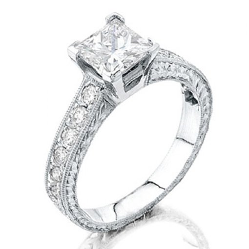 Semi Mount Four Prong Diamond Accented Engagement Ring with 0.65 carat total weight of Round Cut Diamonds