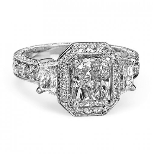 Semi Mount Vintage Style Halo Pave Diamond Engagement Ring with 1.50 carat total weight of Round Cut Diamonds