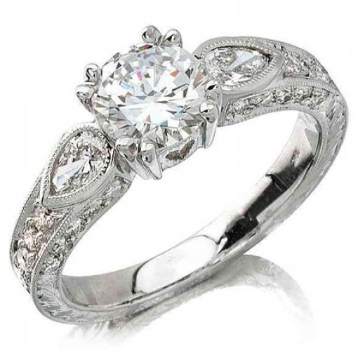 Semi Mount Four Prong Vintage Style Pave Diamond Engagement Ring with 0.70 carat of Round Cut and Pear Shape Diamonds