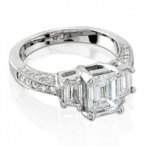 Semit Mount Three Stone Pave Diamond Engagement Ring with 1.00 carat total weight of Round Cut and Trapezoid Diamonds