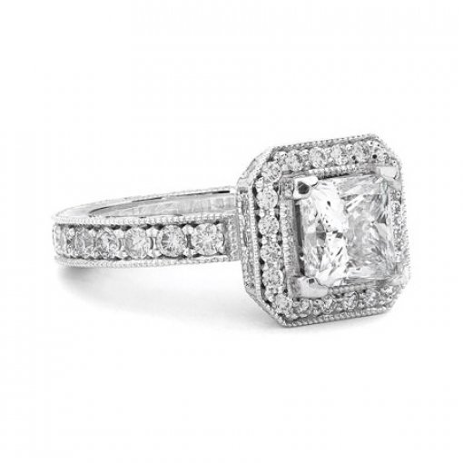Semi Mount Halo Pave Diamond Engagement Ring with 1.20 total carat weight of Round Cut Diamonds