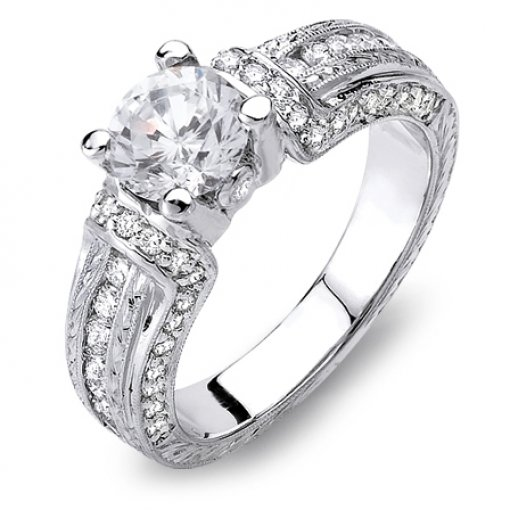 Semi Mount Vintage Style Ring 0.80 total carat weight of Round Cut Diamonds