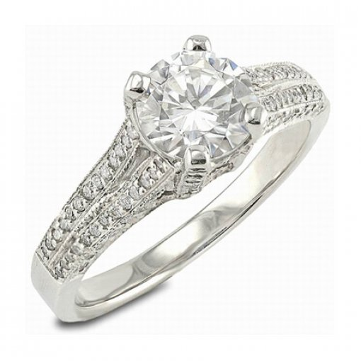 Semi Mount Split Shank Pave Diamond Engagement Ring with 0.50 total carat weight of Round Cut Diamonds