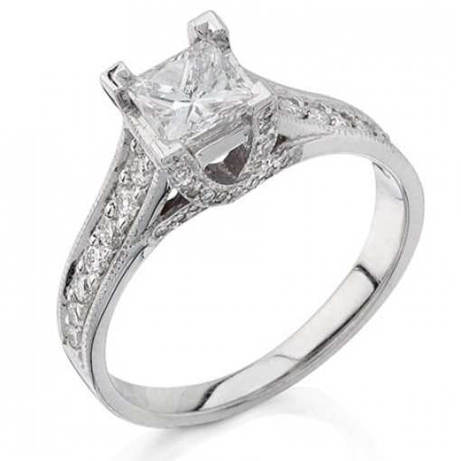 Semi Mount Four Prong Pave Diamond Engagement Ring with 0.25 total carat weight of Round Cut Diamonds