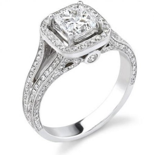 Semi Mount Vintage Style Halo Pave Diamond Engagement Ring with 1.36 total carat weight of Round Cut Diamonds