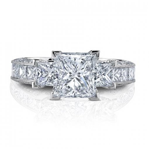 Semi Mount Three Stone Vintage Style Pave Diamond Engagement Ring with 1.80 carat of Princess and Round Cut Diamonds