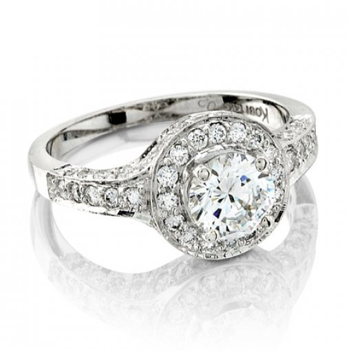 Semi Mount Vintage Style Halo Pave Diamond Ring with 0.70 total carat weight of Round Cut Diamonds