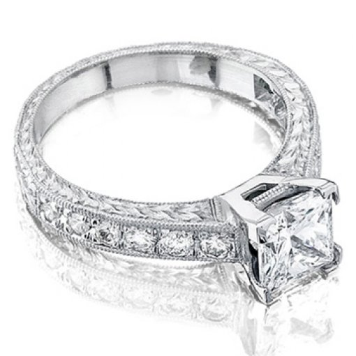 Semi Mount Four Prong Pave Diamond Ring with 0.65 total carat weight of Round Cut Diamonds