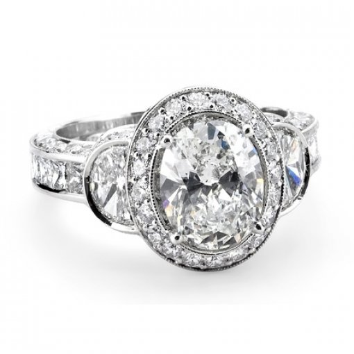 Semi Mount Vintage Style Pave Diamond Engagement Ring with 1.50 total carat weight of Round and Half Moon Cut Diamonds