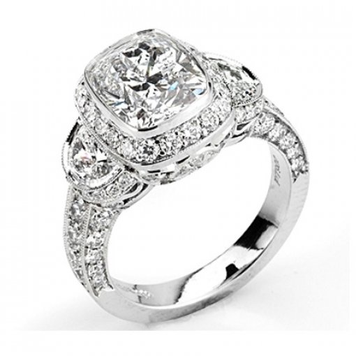 Semi Mount of Vintage Style Pave Diamond Engagement Ring with 1.50 carat of Round and Half Moon Cut Diamonds