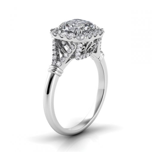 1.00ct Halo Asscher Diamond Engagement Ring