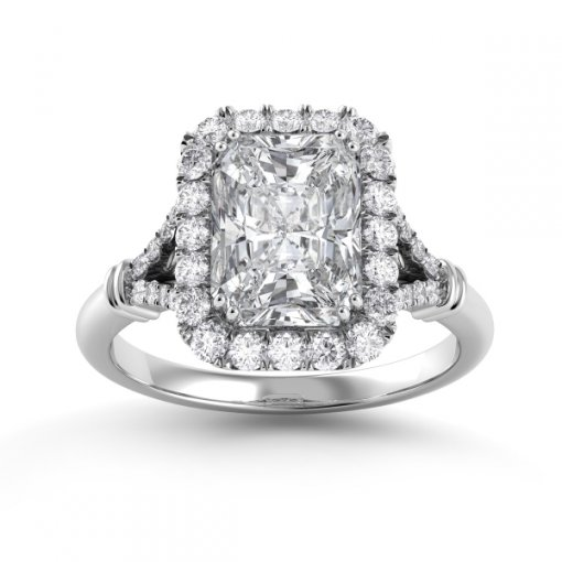 1.00ct Halo Radiant Diamond Engagement Ring