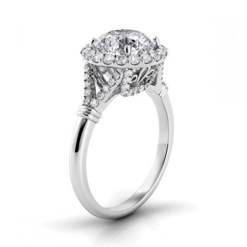 1.00ct Halo Round Diamond Engagement Ring