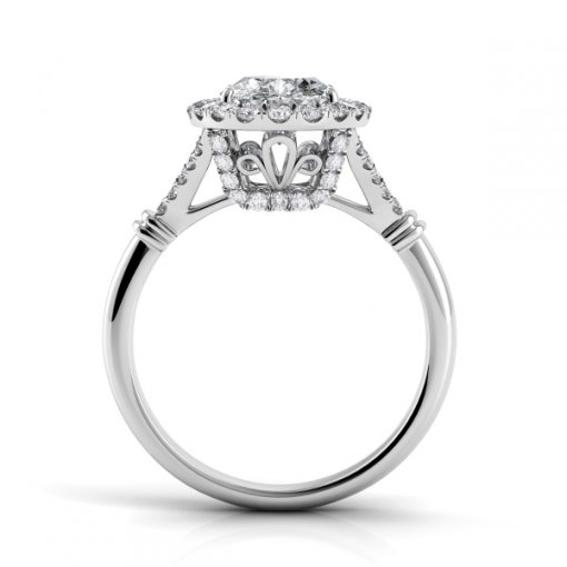 1.00ct Halo Oval Diamond Engagement Ring