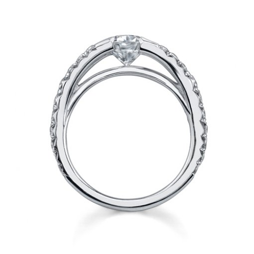Semi-Mount 18K White Gold Pave Engagement Ring with 0.55ctw Round Diamonds
