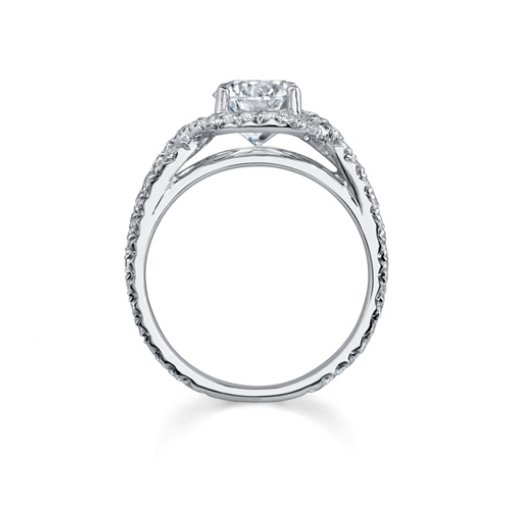 Semi-Mount 18K White Gold Engagement Ring with 0.74ctw Round Diamonds